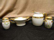 Antique Pickard Fine China Art Nouveau Creamer Sugar Salt Pepper Shakers Signed