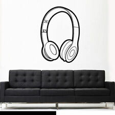 Wall Decal Vinyl Sticker Headphones Music Notes Beats Audio Art Outlines Z2658