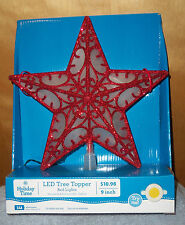 Red Star Tree Topper W/Red Led Lights *9 Inch* On/Off Or Timer ~Battery Oper~New