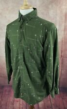Woolrich Button Down Long Sleeve Fishing Rods Reels Canoe Green Shirt Men's M