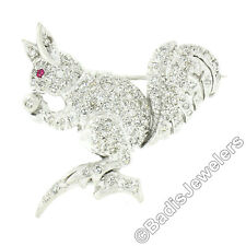 Antique Art Deco Platinum 2.02ctw Diamond & Ruby w/ Milgrain Squirrel Pin Brooch