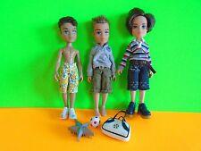 Lot of 3 Bratz Boy Dolls Plus Accessories, Shoes & Clothes Good Condition