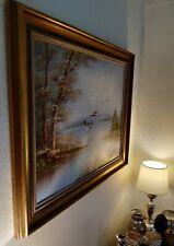 Altes Gemälde Ölgemälde Enten am See/Wasser winterliche Landschaft handgemalt
