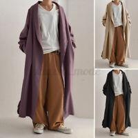 Women Oversized Cotton Long Trench Coats Windbreaker Casual Blazer Maxi Cardigan