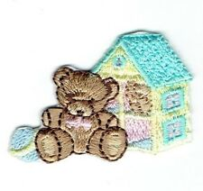 Iron-On Applique Embroidered Patch - Teddy Bear Baby Doll House