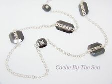 Silpada Hematite Bead Cubic Zirconia Sterling Silver Retired Necklace N2924