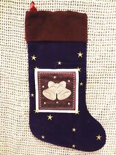 "Velour Christmas Stocking Holiday Bells 10"" x 18"" Soft Burgundy & Purple ~ NEW"