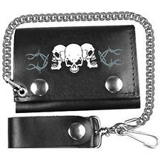 BIKER BARBED WIRE TRI-FOLD LEATHER WALLET WITH CHAIN