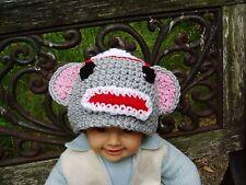 Gray Sock Monkey Hat Crochet Photo Prop 100% Acrylic, Unisex, Handmade