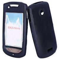 Silikon TPU Handy Cover Hülle in Schwarz für Samsung S5620 + Displayschutzfolie