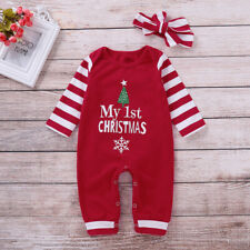 Newborn Baby Girls Xmas Clothes My 1st Christmas Romper Jumpsuit Outfit Headband