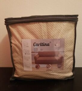 Carltina Beige Tan Textured High Stretch Stylish 1-Piece Loveseat Cover
