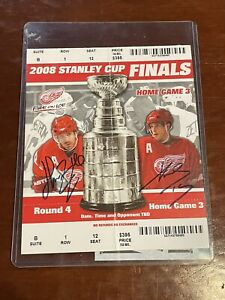 Henrik Zetterberg & Pavel Datsyuk signed 08 Stanley Cup Finals Ticket JSA COA