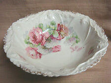 Large Antique Bowl w/Pink Rose Floral Design - Transfer Ware