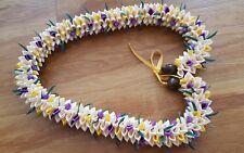 Grad Wedding Hawaiian Purple and Yellow Rosebud Ribbon Lei