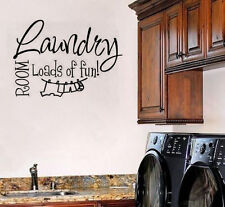 Wall Sticker Quote Vinyl Home Decor Lettering Laundry Room Loads of Fun Decal
