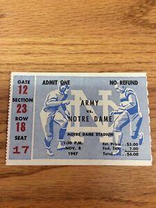 1947 NOTRE DAME FOOTBALL VS ARMY FOOTBALL TICKET STUB