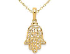 Collar Colgante de Hamsa Oro Amarillo 14K en cadena con