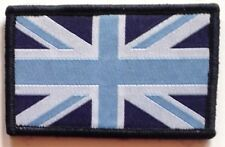 Sew On & Velcro Embroidered Patch Badge (Forces Style) Union Flag Blue