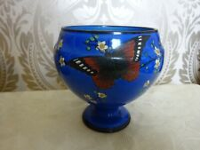 H & K Tunstall Blue Art Deco footed bowl vase Butterfly Floral Design 15cm tall