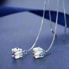 Boucles d'oreilles Longues en Argent 925 et Cube Aurore Boréale en Cristal
