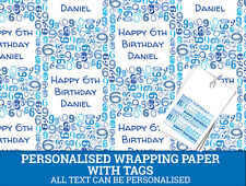 Personalised Happy 6th Birthday Wrapping paper - Blue Gift wrap with number 6