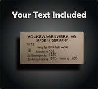 Replacement Vin Plate Identification Tag Data Plate for VW + YOUR OWN TEXT