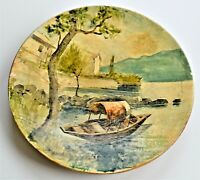 Vintage Painting on Wooden Plate Art Ticino Italy 13cm wide Wall Hanging