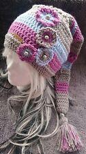Zipfelmütze~ grau/rosa/blau~ große Troddel ~ Blumenapplikationen~ Gr. *50/52*XL