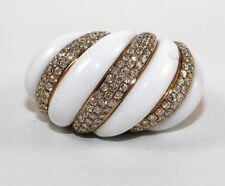 White Onyx & Diamond Cluster Slanted Wide Ring Band 18k Rose Gold 23.11Ct