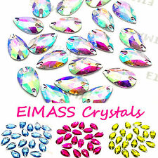 Teardrop Shape EIMASS® Sew or Glue on Resin Crystals, Flat Back Gems for Costume