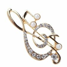 Accessories Musical Note Brooch Pins Pearl Crystal Rhinestone Scarf Buckle