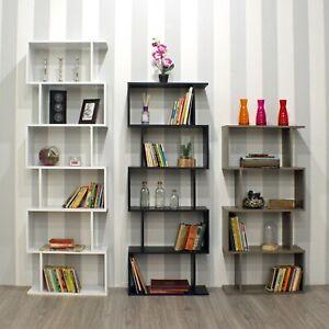 Wooden S-Shaped Bookcase Living Room Modern Display Shelves Storage Unit Divider