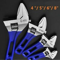 "4""/ 5""/ 6""/ 8"" Adjustable Wrench Spanner Short Shank Large Opening"