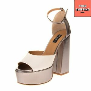 UNLACE LUXURY Genuine Leather Very High Block Heel Ankle Strap Sandals Size 37