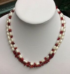 2 Strand Red Coral,  freshwater Pearl Necklace With Matching Earrings, handmade