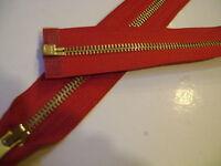 fermeture éclair séparable métal 6 mm coloris rouge L. 55 cm N° 86 D S.étiquette