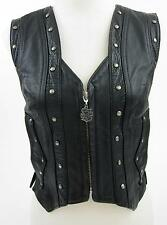 Harley Davidson Womens Springer Border Vest Leather Sz Small Conchos Fringe!