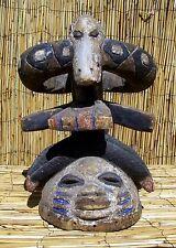 "African Yoruba Gelede Helmet Mask From Nigeria 15"" Tall"