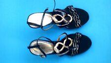 "PROMISE Open Toe High Heel Strappy Stiletto Black & Gold 4"" Heels - Size 9"