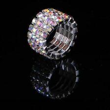 Crystal Aurora Borealis Rhinestone 4 Row Stretch Ring Silver Bridal AB Jewelry