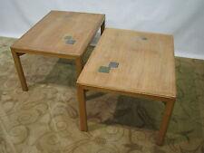 Rare *PAIR* Ed Wormley Dunbar Bleached Mahogany End Tables With Natzler Tiles