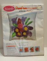 """Vtg Wonderart Pom Pom Stitchery 14"""" Amethyst Pillow Needlecraft Kit New Sealed"""