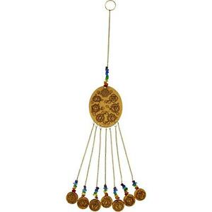 Laser-Etched CHAKRA Symbols Wooden Chime w/Chakra Colored Beads!