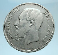 1868 BELGIUM with King LEOPOLD II and LION Genuine Silver 5 Francs Coin i77783