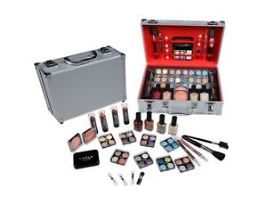 CAMEO SILVER MAKEUP COMPLETE EYESHADOW LIP FACE  CARRY TRAIN COSMETIC KIT