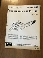Vintage Mcculloch Illustrated Parts List Model 1-42 Chainsaw