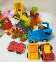 Large Lot of lego Duplo Bricks pink cat vehicles plane train cars trucks windows