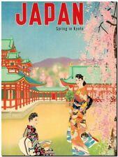 "Cool Retro Travel Poster CANVAS ART PRINT ~ Spring Kyoto Japan 16""x12"""