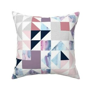 Purple Watercolor Navy Pink Throw Pillow Cover w Optional Insert by Roostery